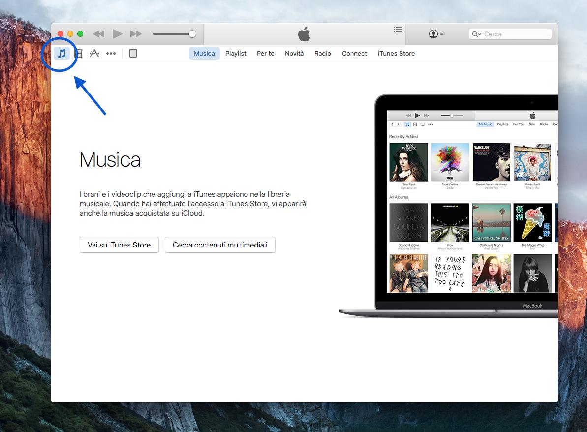 come inserire musica su iTunes 2
