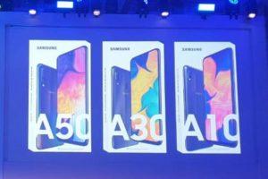 Samsung Galaxy A10, A30 e A50